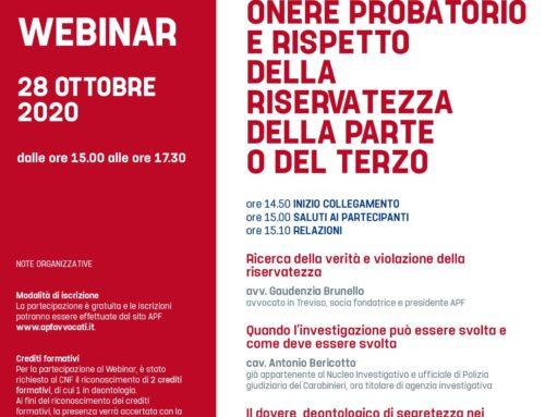 webinar 28.10.2020 Onere probatorio e rispetto della riservatezza della parte o del terzo